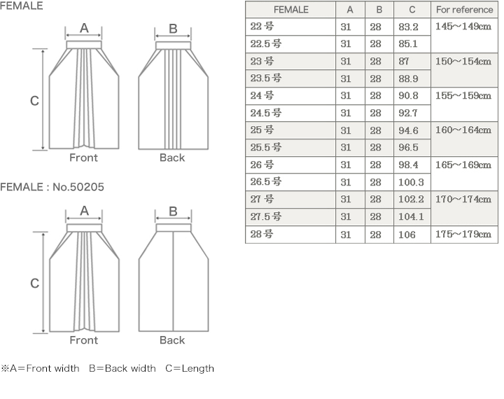 Hakama size FEMALE