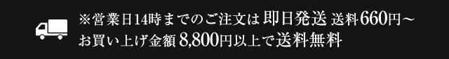 営業日14時までのご注文は即日発送 / 送料660円~ / お買い上げ金額8,800円以上で送料無料